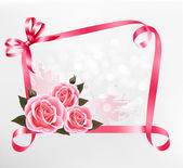 Holiday background. Colorful flowers with pink bow and ribbon. V — Stock Vector