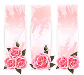 Holiday banners with pink beautiful roses. Vector — Stock Vector