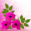 Nature background with pink beautiful flowers. Vector illustrati — Stock Vector