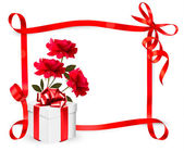 Holiday background with three roses and gift box and ribbon. Vec — Wektor stockowy