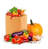 Bakgrund med färska grönsaker i papperspåse. hälsosam mat. vec — Stockvektor