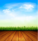 Background with wood and grass. Vector. — Stock Vector