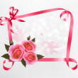 Holiday background with pink roses and ribbons. Vector illustrat — Stock Vector
