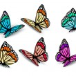 Set of realistic colorful butterflies. Vector — Imagen vectorial