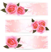 Three holiday banners with pink beautiful roses. Vector — Vettoriale Stock