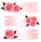 Alquiler de vacaciones tres pancartas con hermosas rosas. vector — Vector de stock