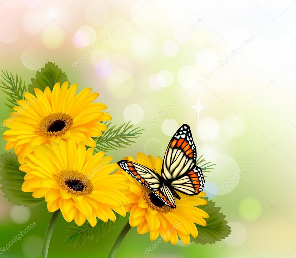 Fundo de natureza com amarelas lindas flores e borboleta for Sfondi con farfalle