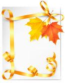 Herfst achtergrond met kleurrijke bladeren en gouden linten. terug naar — Stockvector