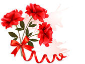 Holiday background with beautiful red roses and a ribbon. Vector — Stockvektor