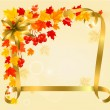 Autumn background with colorful leaves and gold ribbons. Back to — Imagen vectorial
