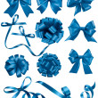 Big set of blue gift bows with ribbons. Vector illustration.  — Stock Vector