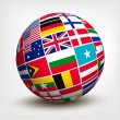 Flags of the world in globe. Vector illustration.  — Stock Vector