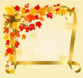 Autumn background with colorful leaves and gold ribbons. Back to — Stock Vector