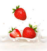 Red strawberry fruits falling into the milky splash. Vector illu — Stock Vector