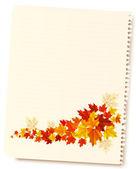 Höstens bakgrund med ark av papper och färgglada lämnar. tillbaka — Stockvektor