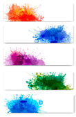 Collection of colorful abstract watercolor banners. Vector illus — Stock Vector
