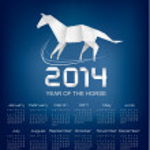 Calendar for the year 2014. Origami horse. Vector. — Stock Vector #31588191