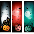 Set of holiday Halloween banners. Vector  — Imagen vectorial