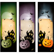 Set of holiday Halloween banners. Vector — Stock Vector