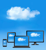 Cloud computing concept. All computer devices and white cloud. V — Stock Vector