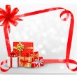 Holiday background with red gift bow and gift boxes. Vector. — Stock Vector
