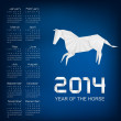 Calendar for the year 2014. Origami horse. Vector. — Stock Vector