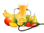 Grupo de frutas y un estetoscopio. concepto de dieta. Vector. — Vector de stock