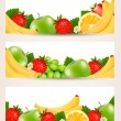 Three banners with delicious ripe fruit. Vector.  — Vettoriali Stock