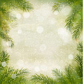 Christmas retro background with tree branches and snowflakes. Ve — Stock Vector