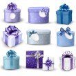 Set of colorful gift boxes with bows and ribbons. Vector illustr — Stok Vektör
