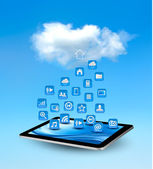 Cloud computing concept background with icons. Vector illustrati — Stock Vector