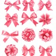 Big set of pink gift bows and ribbons. Vector illustration. — Stock Vector #34111041