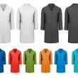 Set of white and black and colorful work clothes. Vector — Imagens vectoriais em stock