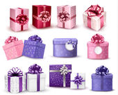 Conjunto de caixas de presente colorida com arcos e fitas. vector ilustr — Vetor de Stock