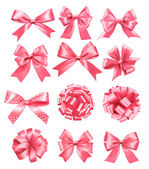 Big set of pink gift bows and ribbons. Vector illustration. — Stock Vector