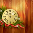 Holiday background with tree branches and clock. Vector illustra — Stock Vector