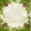 Frame made of christmas tree branches with pine cones. Vector. — Grafika wektorowa