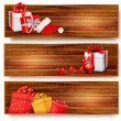 Three christmas banners with gift boxes and santa hat. Vector il — Stock Vector