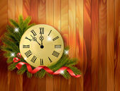 Holiday background with tree branches and clock. Vector illustra — Stockvektor