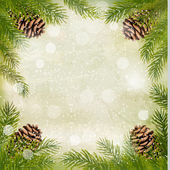 Frame made of christmas tree branches with pine cones. Vector. — Stock Vector