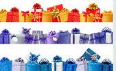 Conjunto de banners comerciais com caixas coloridas de presente com arco e ri — Vetor de Stock