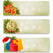 Three christmas banners with gift boxes and snowflake. Vector il — Stock Vector #34951111