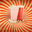 Retro background with Popcorn and a drink. Vector illustration  — Stock Vector