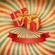 Retro holiday background with blue gift ribbon with gift boxes. Vector — Stockvektor