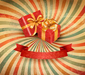 Retro holiday background with blue gift ribbon with gift boxes. Vector — Vecteur
