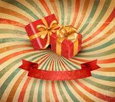 Fondo retro vacaciones con cinta azul regalo con cajas de regalo. vector — Vector de stock