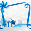Holiday background with blue gift bow and gift boxes. Vector.  — Stockvectorbeeld
