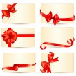 Set of beautiful gift cards with red gift bows with ribbons Vect — Stock Vector #35409599