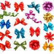 Big collection of color gift bows with ribbons. Vector illustrat — Stock Vector