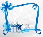 Sfondo vacanza con fiocco blu dono e scatole regalo. vector. — Vettoriale Stock